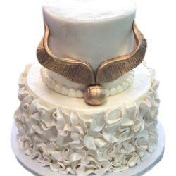 gold harry potter cakes, birthday cakes, dallas bakery, white cakes, white birthday cakes