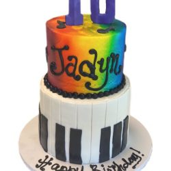 Piano cakes, rainbow birthday cakes, 10th birthday cakes, custom cakes arlington, sugar bee sweets