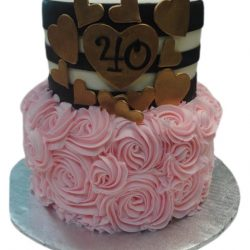 pink rosettes cakes, pink cakes, gold cakes, dallas cakes, fort worth cakes, 40th birthday cakes