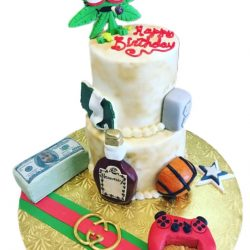 Gucci Cake with money and controller, weed cakes, money cakes, dallas bakery