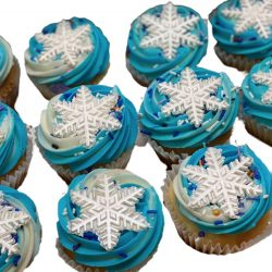 snowflake cupcakes, frozen cupcakes, cupcakes in arlington, custom cakes in dallas