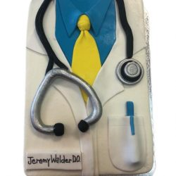 Doctor graduation cake, medical cakes, stethascope cakes, specialty cakes in dallas, fort worth bakery, that's the cake
