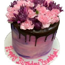 pink cakes, purple cakes, birthday cakes in dallas, fort worth bakery, pink flowers birthday cake