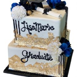 gold graduation cakes, specialty cakes, custom cakes, dallas fort worth bakery, unique graduation cakes