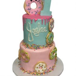 Donut Birthday cakes, custom cakes, 1st birthday cakes, pink cakes, dallas bakery, fort worth bakery