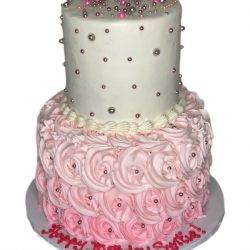 pink rosettes cake, pink cakes, birthday cakes for girls, dallas bakery, fort worth bakery