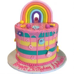 striped birthday cakes, pink rainbow cakes, custom cakes, dallas bakery, fort worth bakery, thats the cake