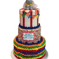 elephant themed baby shower cakes, circus baby shower cakes, custom cakes, dallas bakery, arlington bakery