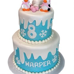winter theme cakes, penguin cakes, custom cakes dallas, best bakeries dallas, 5th birthday cakes