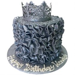 Silver Ruffles, Birthday Cakes, Silver Crown Cakes, That's The Cake, Dallas Bakery