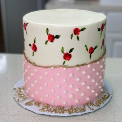 roses painted cakes, pink cakes, gold cakes, birthday cakes dallas, fort worth bakery, arlington, sugar bee sweets, sweetthingsbakery, dfw cakes