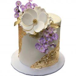 Purple + Gold   Elegant Birthday cakes   custom bakery cakes   arlington bakery   dallas custom cakes   unique gold cakes   gold flakes cakes