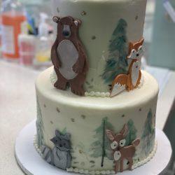 woodland creatures baby shower cake