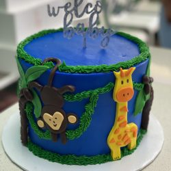 Simple baby shower cake, jungle animals shower cake | thats the cake