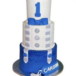 1st Birthday Cake   That's The Cake   Arlington Bakery   Blue & Gray Birthday Cake
