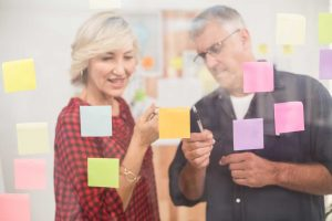 Business Team Planning with Post Its