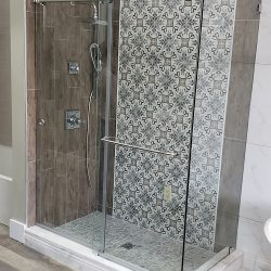 Custom glass shower with silver features