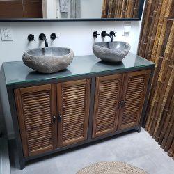Custom glass sink basin