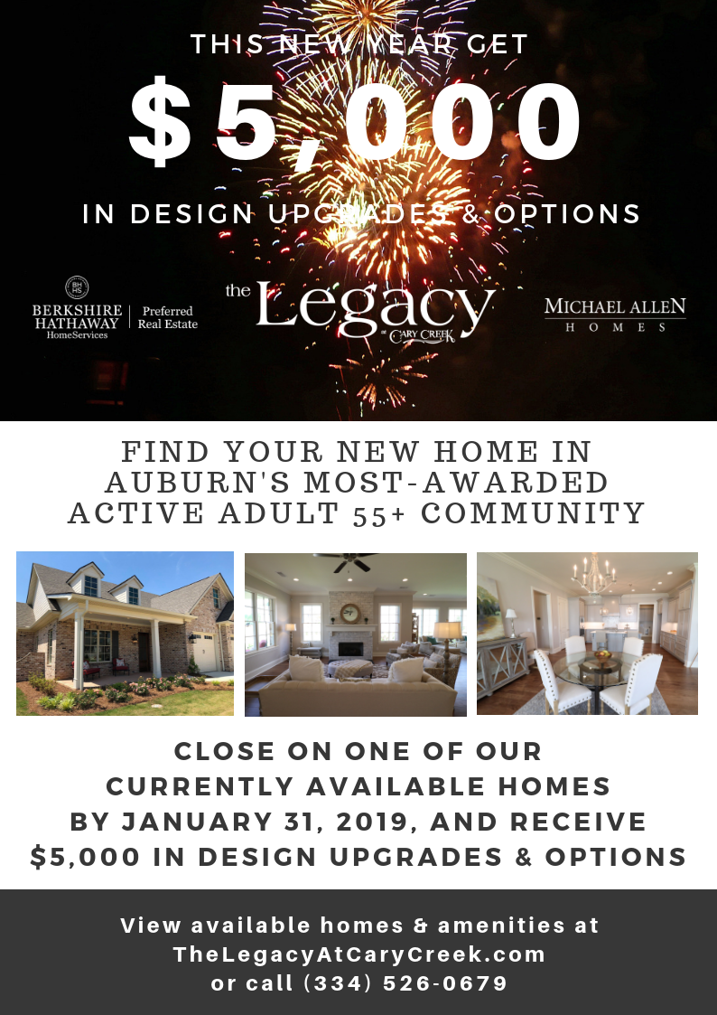 Get $5,000 in design upgrades and options from Auburn's premiere Active Adult 55+ community