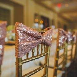 Detail of a gold Chiavari chair with sequined fabric - The Rented Event