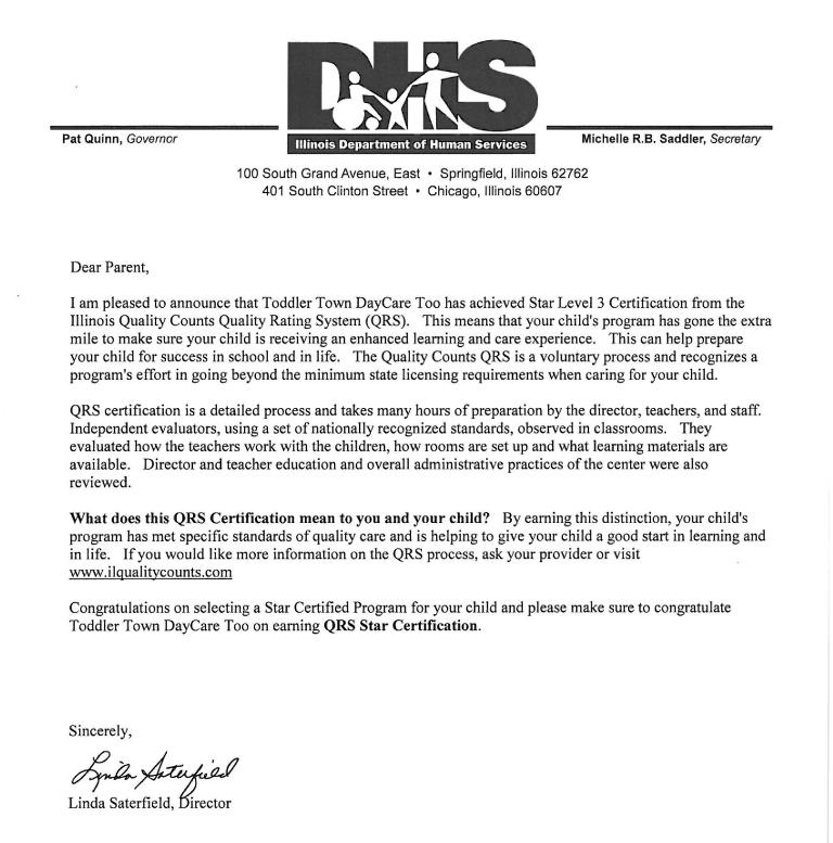 Toddler Town Chicago QRS 3 Star Award