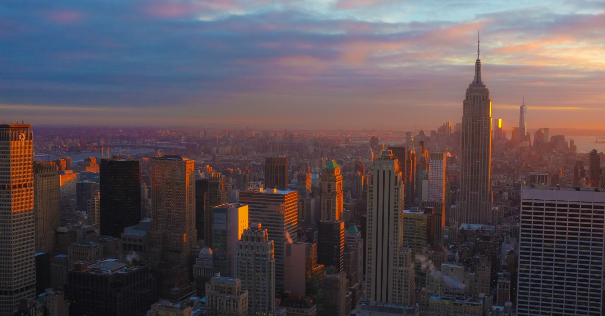 Sunlight illuminating the New York City skyline.
