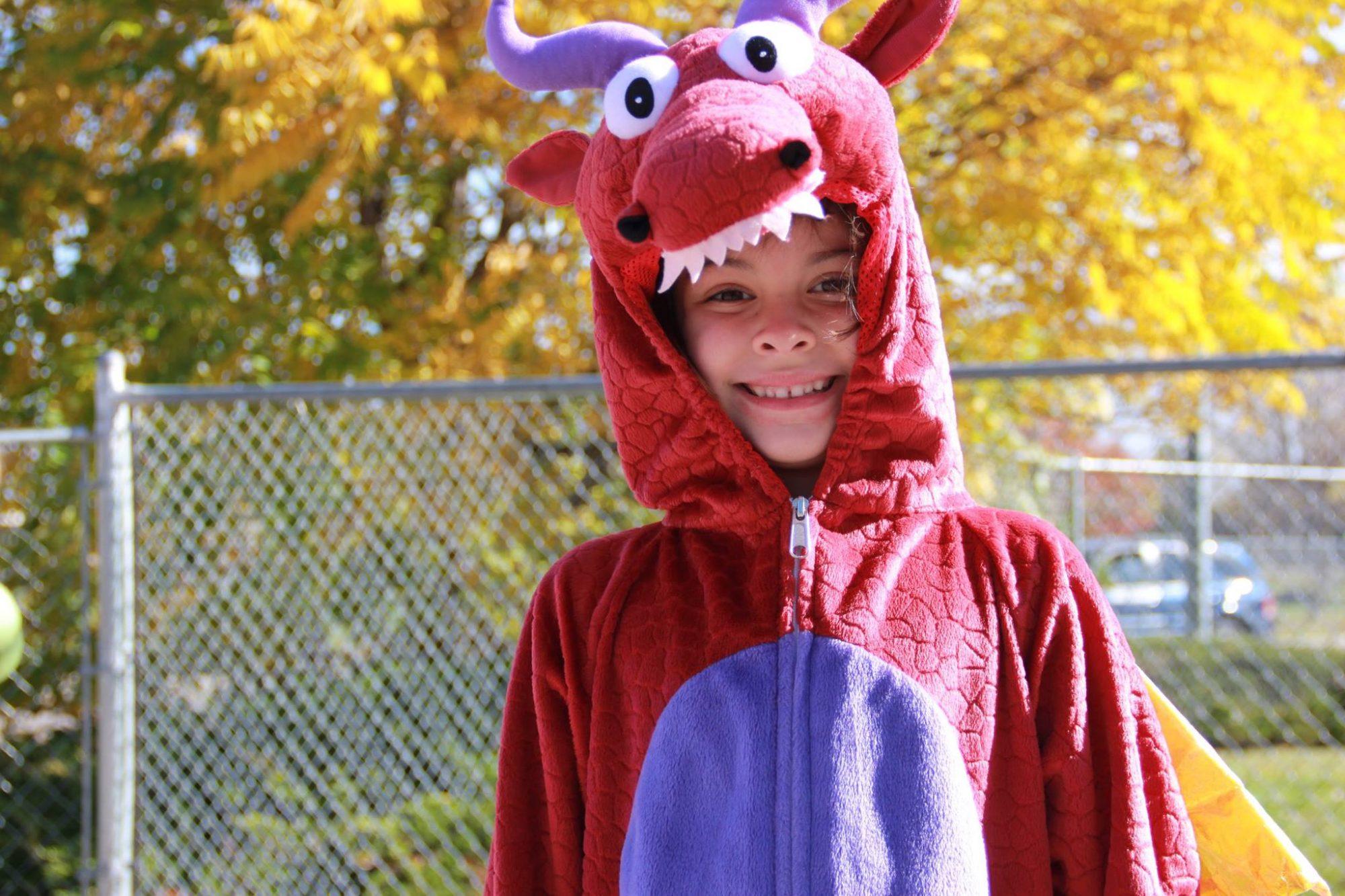 Boy in dragon costume