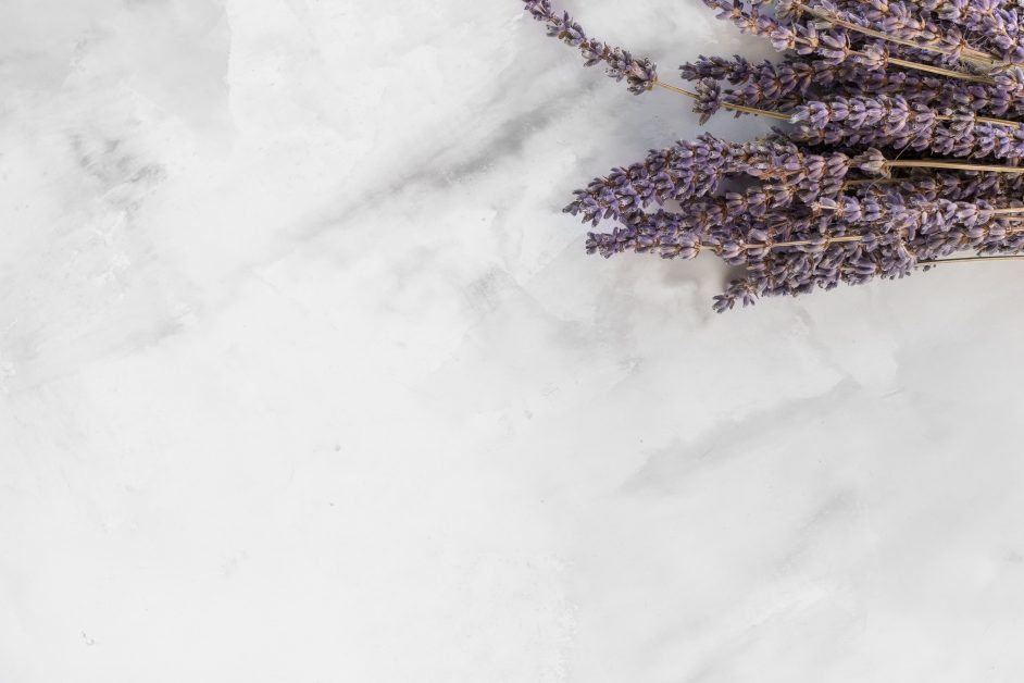 An image of a white marble tile with a lavender flower on it.