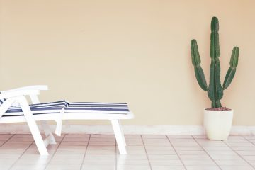 An image of a tile floor with a lounge chair and cactus.