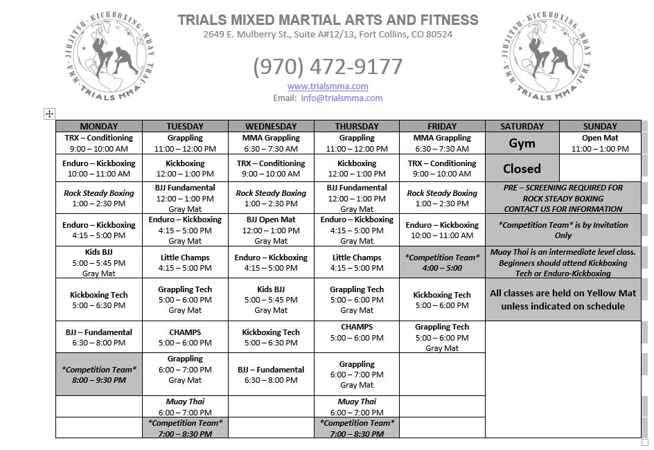 trials mma schedule of classes ft collins mma trials mma