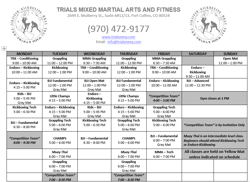 Trials MMA Schedule 022017