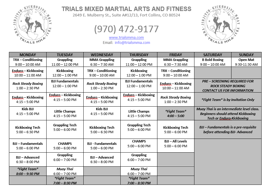 Trials MMA Schedule of Classes | Ft  Collins MMA -- Trials MMA