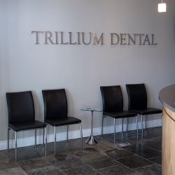 A photo of the waiting room at Trillium Dental in the Westgate Mall.