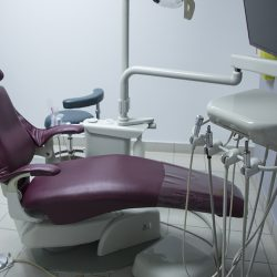 A dentist's chair at Trillium Dental in the Westgate Mall, Ottawa.