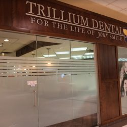 The entrance of family dental clinic Trillium Dental in the Westgate Mall, Ottawa.