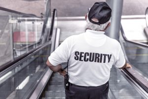 Security Officer on Escalator