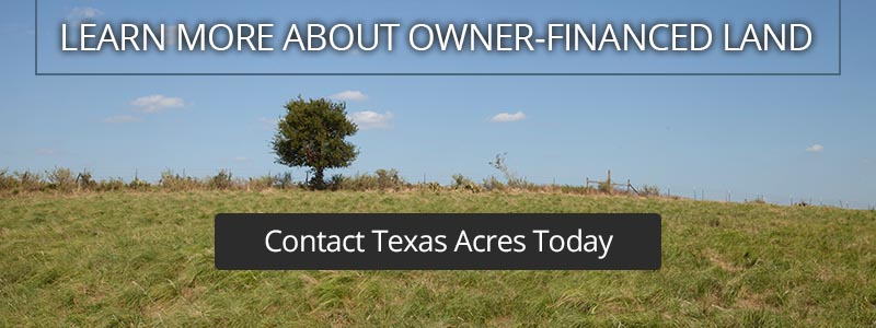 Call to action box about owner-financed land for sale.