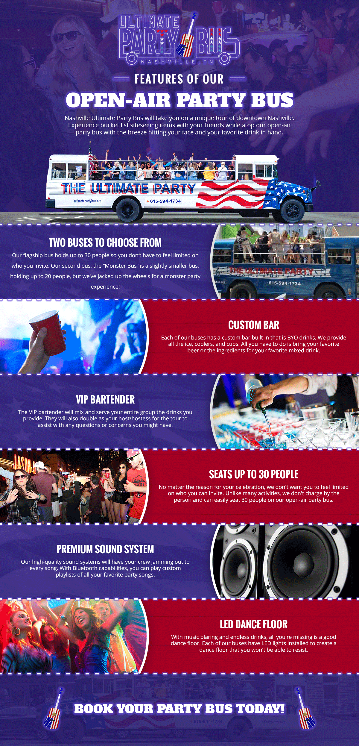 Features Of Our Open Air Party Bus | Ultimate Party Bus | Nashville, TN