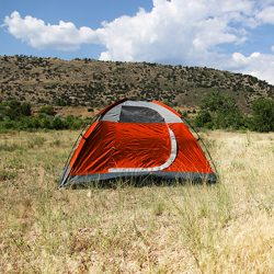 Sporting goods product: red and grey tent
