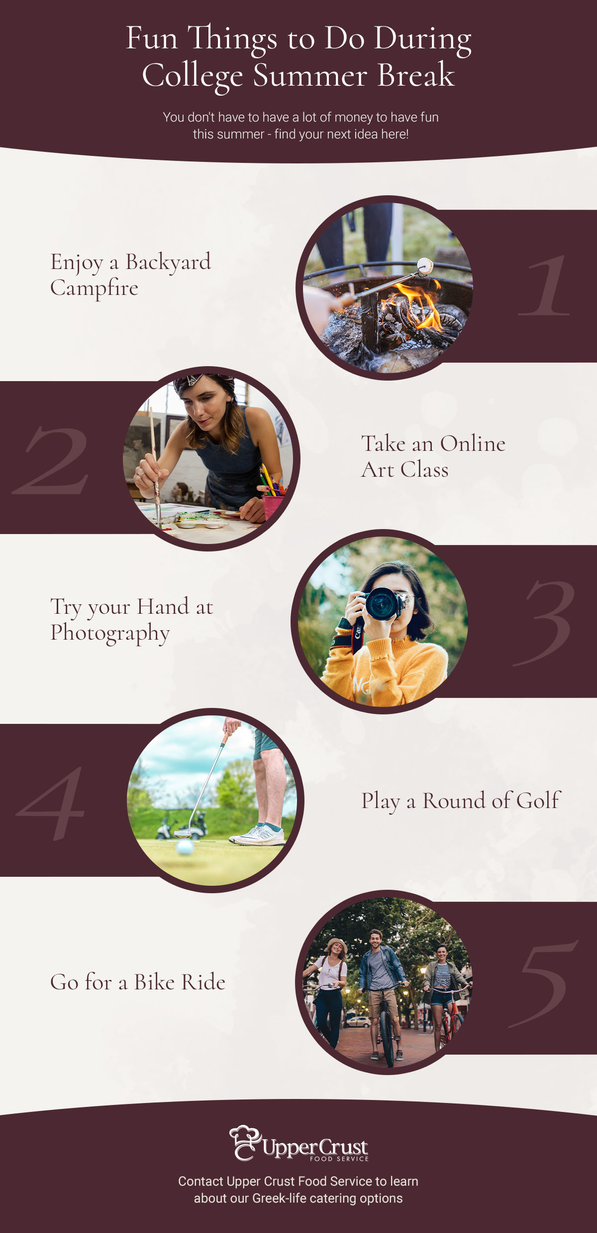 Fun Things to do during college summer break, infographic