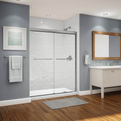 A picture of a nice bathroom with a walk-in, accessible shower, remodeled by Upscale Bath Solutions.