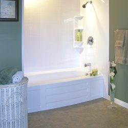 A picture of a nice bathroom with a beautiful tub, installed by Upscale Bath Solutions.