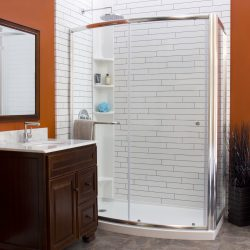 A picture of a picturesque bathroom with a walk-in shower, remodeled by Upscale Bath Solutions.