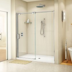 A picture of a beautiful shower remodeled by Upscale Bath Solutions.