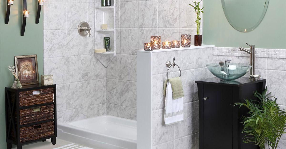shower surround in sea green bathroom