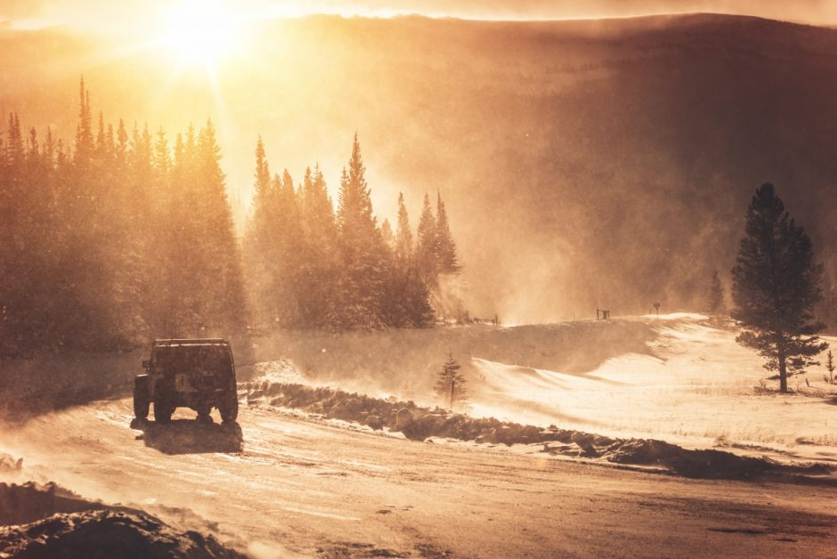 Jeep on a Winter Road