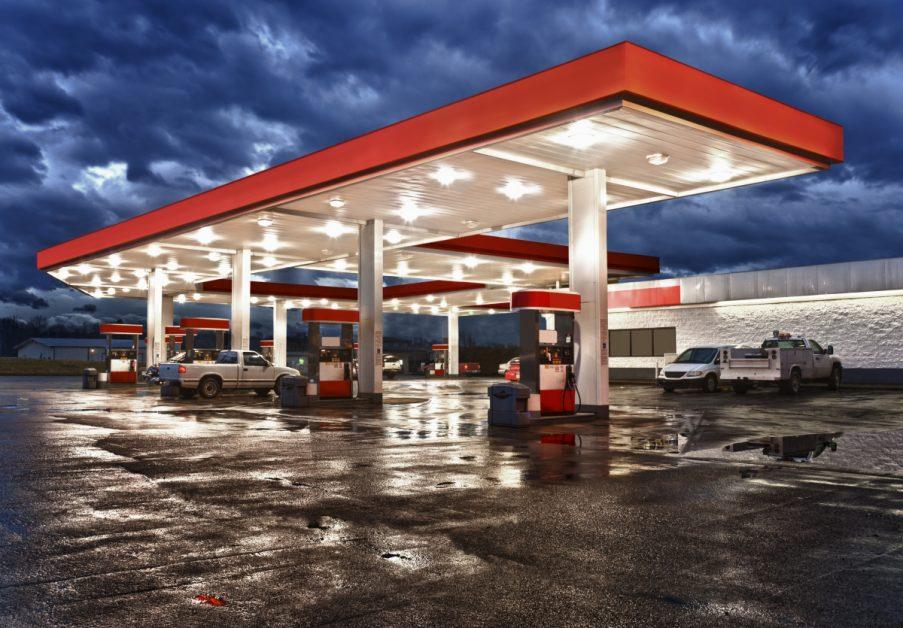 Gas Station in Rainstorm