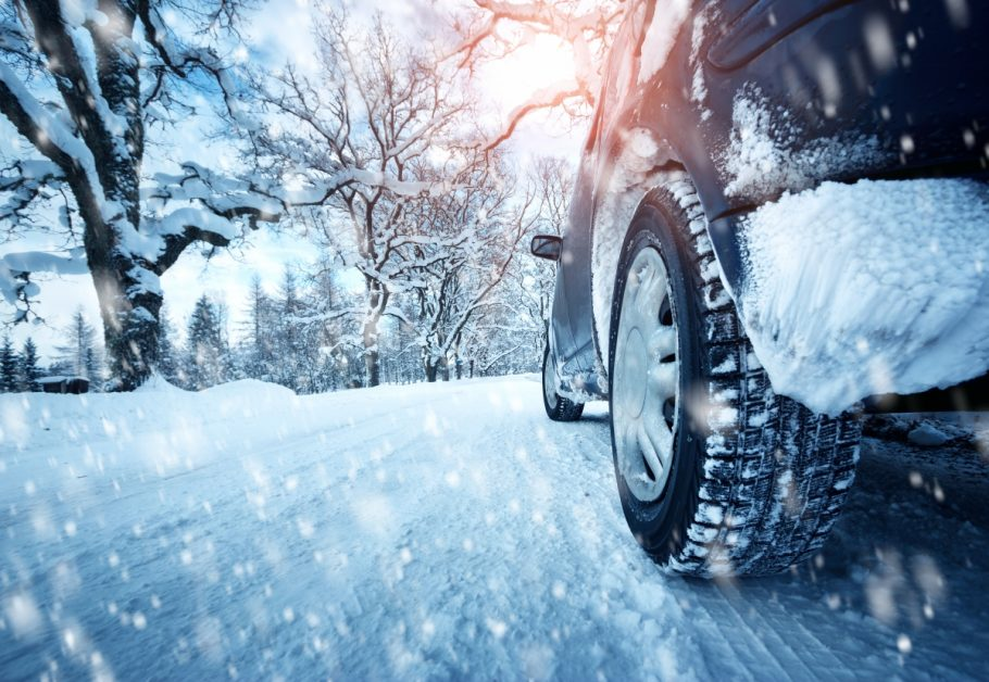 Winter Tires on Snowy Road