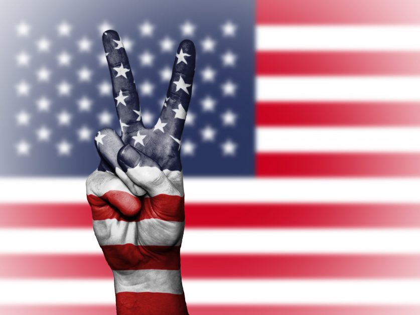 American Flag Peace Sign Hand