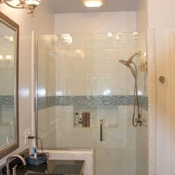 A shower remodel in Tallahassee by remodeling company, Vanguard North.